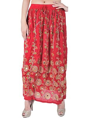 Long Skirt With All-Over Sequins and Print