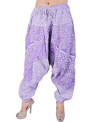 Hyacinth-Purple Harem Trousers from Pilkhuwa with Printed Peacocks and Palm Trees