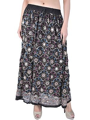 Black Long Skirt With All-Over Sequins and Printed Flowers