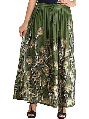 Long Skirt with Printed Peacock Feather and Embroidered Sequins