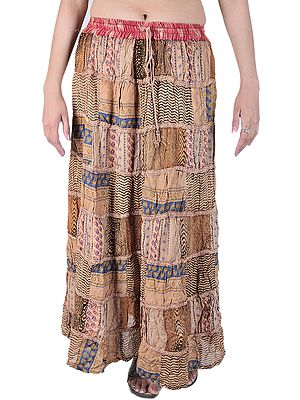 Long Printed Boho Skirt from Gujarat with Patch Work and Lace