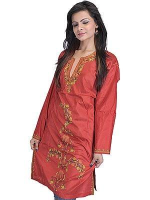 Cinnabar-Red Kashmiri Long Kurti with Hand Embroidered Flowers