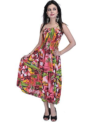 Sunkist-Coral Barbie Dress with Large Printed Flowers
