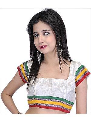 Ivory Banarasi Bollywood Choli With Patch Border and Dori Back
