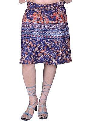 Blue Depths Wrap-Around Mini-Skirt with Sanganeri Print