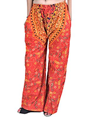 Firecracker-Red Casual Trousers from Pilkhuwa with Printed Elephants