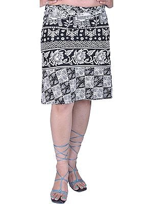 White and Black Wrap-around Mini-Skirt with Printed Elephants and Flowers