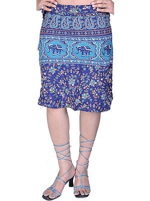 Navy-Blue Sanganeri Wrap-Around Mini-Skirt with Printed Flowers and Elephants