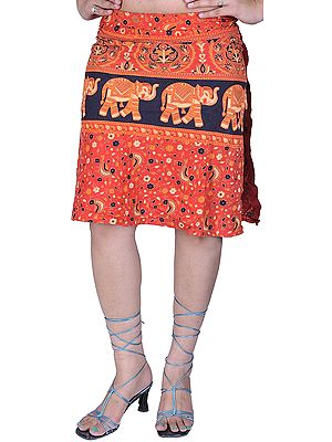 Scarlet Wrap-around Mini-Skirt with Printed Elephants and Flowers