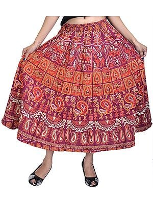 Sanganeri Midi Skirt with Printed Elephants and Peacocks