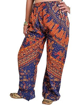 Casual Trousers from Jodhpur with Printed Marriage Procession