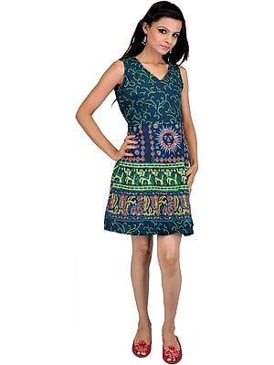 Dark Denim Short Summer Dress with Sanganeri Print