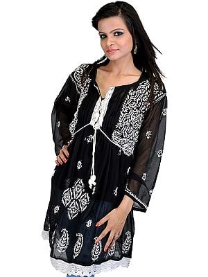 Black Kurti With Chikan Embroidered Flowers and Paisleys by Hand