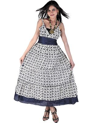Ivory and Midnight-blue Barbie Dress with Ikat Print
