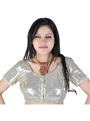 Ivory Sequined Choli with Faux Pearls
