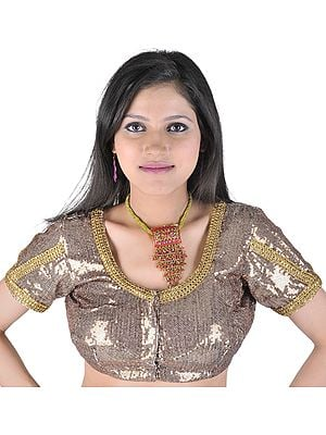 Brown Choli With Sequins And Gota Patch Border