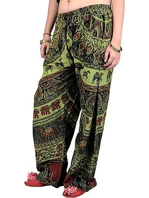 Sap-Green Casual Trousers from Pilkhuwa with Printed Elephants and Camels