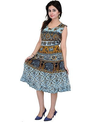 Crystal-Blue Summer Dress With Printed Elephants and Camels