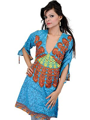 Cendre-Blue Kurti from Gujarat with Printed Floral Motifs