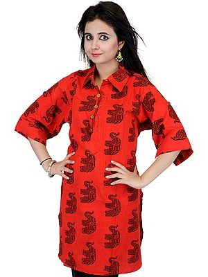 Poppy-Red Kurti from Pilkhuwa  with Printed Elephants