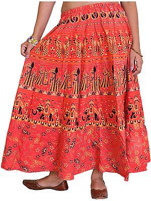 Sanganeri Midi Skirt from Jodhpur with Printed Marriage Procession