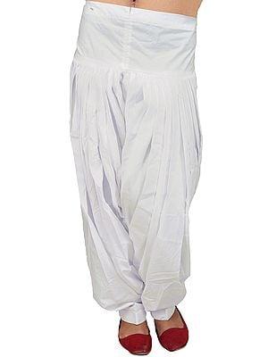 Chic-White Plain Patiala Salwar