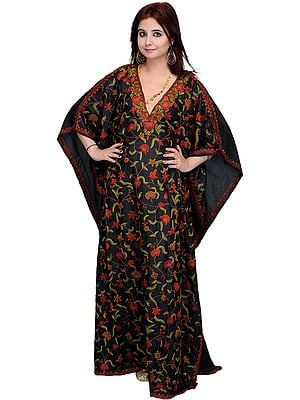 Black Kashmiri Kaftan with Ari Embroidered Flowers by Hand