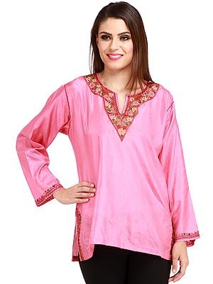Kurti from Kashmir with Hand-Embroidered Paisleys on Neck