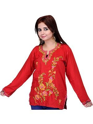 Tomato-Red Kashmiri Kurti with Hand Embroidered Flowers