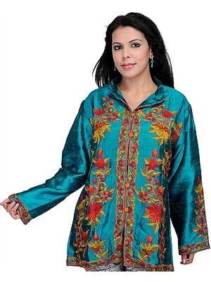 Parasailing-Green Kashmiri Jacket with Hand Embroidered Flowers