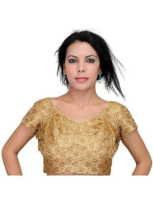 Beige Backless Choli from Banaras with Brocade Weave