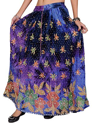 Liberty-Blue and Purple Skirt with Printed Flowers and Embroidered Sequins