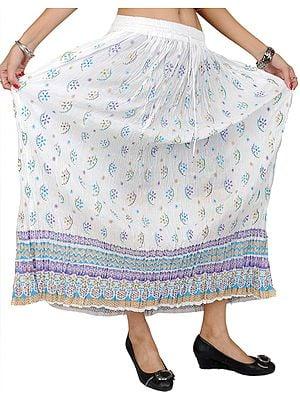 Crushed Elastic Boho Skirt with Printed Flowers