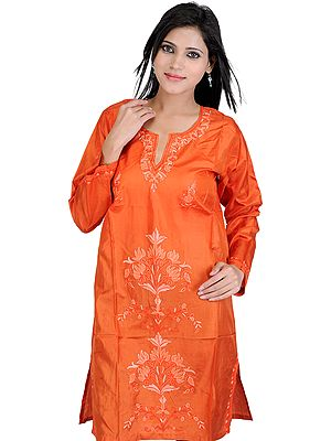 Rust Kashmiri Kurti with Hand Embroidered Flowers in Self-Colored Thread