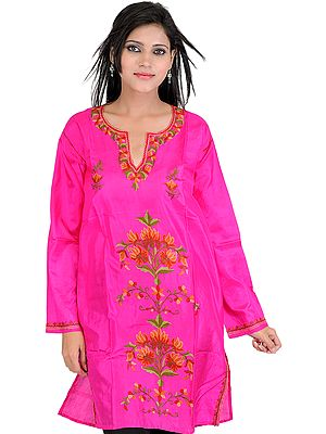 Hot-Pink Kurti from Kashmir with Hand Embroidered Flowers