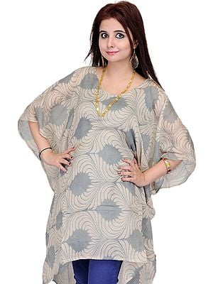 Feather-Gray Short Printed Kaftan