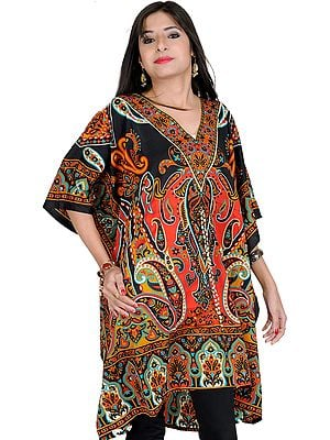 Black and Red Short Boho Printed Kaftan with Dori at Waist