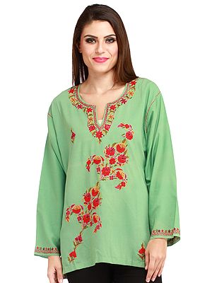 Fair-Green Kashmiri Kurti with Ari Embroidered Flowers by Hand