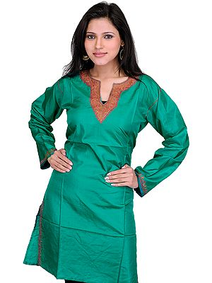 Kurti from Kashmir with Hand-Ari Embroidery on Neck