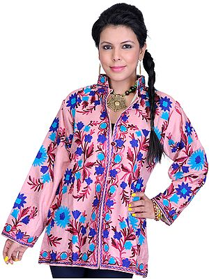 Rose-Pink Jacket from Kashmir with Ari Embroidered Flowers