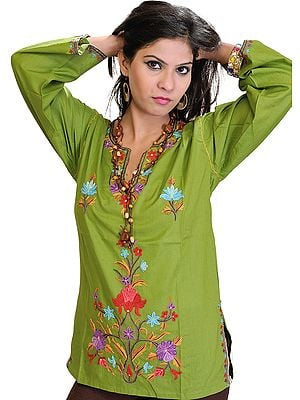 Forest-Green Kashmiri Kurti with Ari Hand-Embroidered Flowers