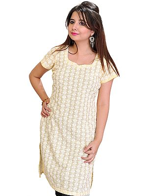 Long Kurti with Chikan Embroidered Flowers All-Over