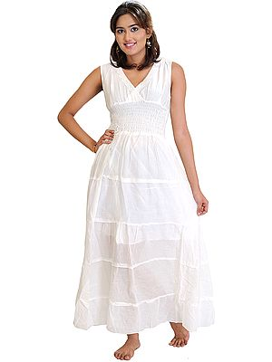 Winter-White Plain Summer Dress with Lace