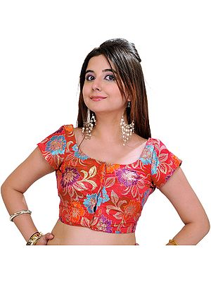 Brocaded Shimmer Choli from Banaras with Woven Flowers