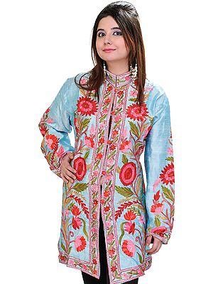 Angel-Blue Kashmiri Long Jacket with Ari Embroidered Flowers