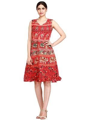 Summer Dress from Pilkhuwa with Printed Elephants and Camels