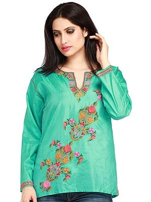 Turquoise Kashmiri Kurti with Embroidered Flowers by Hand