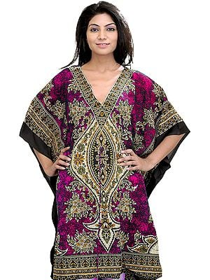 Printed Short Boho Kaftan with Dori at Waist