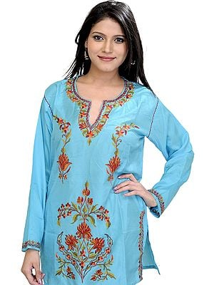 French-Blue Kurti from Kashmir with Hand Embroidered Flowers