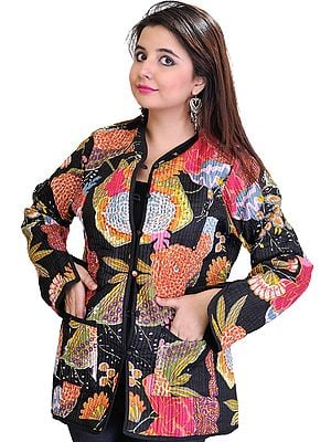 Multi-Color Reversible Jacket from Pilkhuwa with Printed Flowers and Straight Stitch
